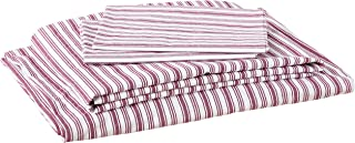 Nautica Stripe Cotton Percale Sheet Set, Queen, Colridge Red