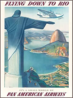 A SLICE IN TIME Flying down to Rio de Janeiro Brazil South America Vintage Travel Art Wall Decor Collectible Poster Advertisement Print. Measures 10 x 13.5 inches