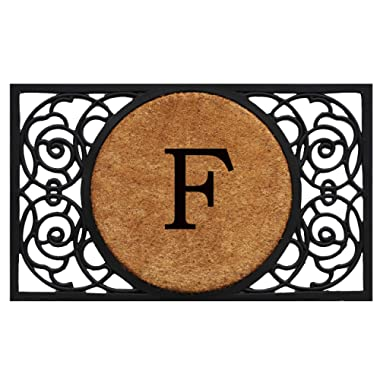 Calloway Mills 180031830F Armada Circle Monogram Doormat, 18  x 30  (Letter F)