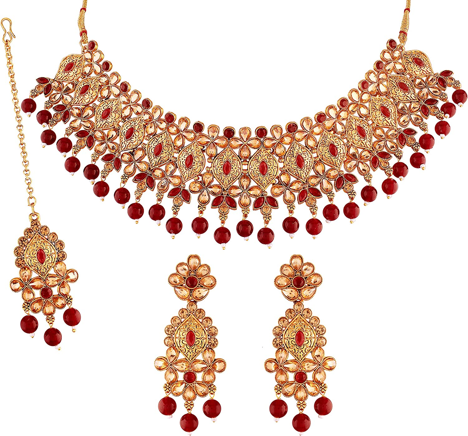 I Jewels Indian Bollywood Gold Plated Stone Studded & Faux Pearl Ethnic Wedding Choker Necklace Jewelry Set with Earrings & Maang Tikka for Women (M4154M)