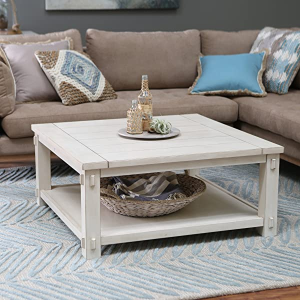 Craftsman Wood Top Westcott Square Coffee Table Antique White Finish Made With Wood With MDF And Birch Veneer Classic Shaker Mission Style 40W X 40D X 18H In