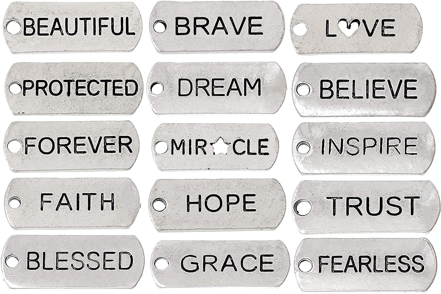 JGFinds Assorted Long Beach Mall Inspirational Message Silver Tag Ranking TOP6 Charms Tone