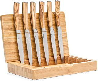 La Cote 6 Piece Steak Knives Set Japanese Stainless Steel Olive Wood Handle In Bamboo Storage Box (Olive Wood)