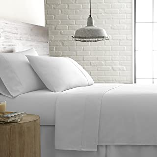 Southshore Fine Linens - BRITEYARN - 300 Thread Count 100% Cotton Extra Deep Pocket Sheet Set, Bright White, King
