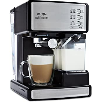 Mr. Coffee Cafe Barista Cafetera eléctrica para espresso con espumador de leche automático, BVMC-Ecm.P1000, Sin muestra gratis, Acero inoxidable, 1
