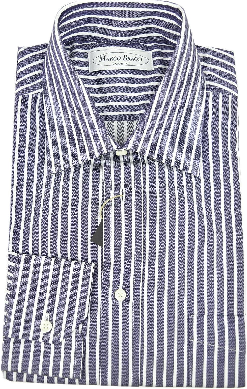 Hecha a la medida de la camisa de Hombre Azul con Rayas ...