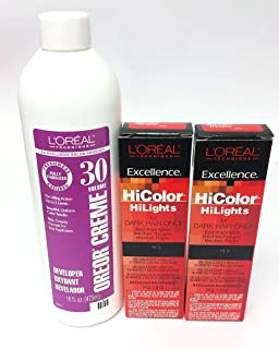L'Oreal Hicolor HiLights for Dark Hair Only Red 2-Pack with 16 oz. Oreor Crème 30 Developer - COMBO DEAL