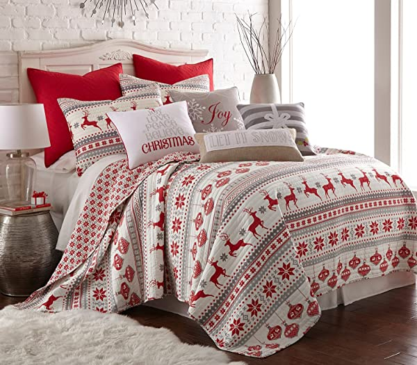 Silent Night King Set Red Grey White Cotton Christmas Holiday