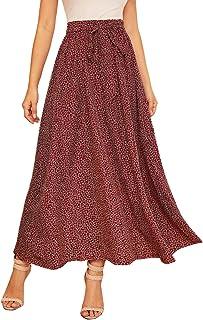 SheIn Women's Summer Ditsy Floral High Waist Self Tie Belted A-line Long Skirt