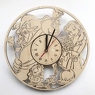 7ArtsStudio The Beauty and The Beast Wall Clock Made of Wood - Perfect and Beautifully Cut - Decorate Your Home with Moder...
