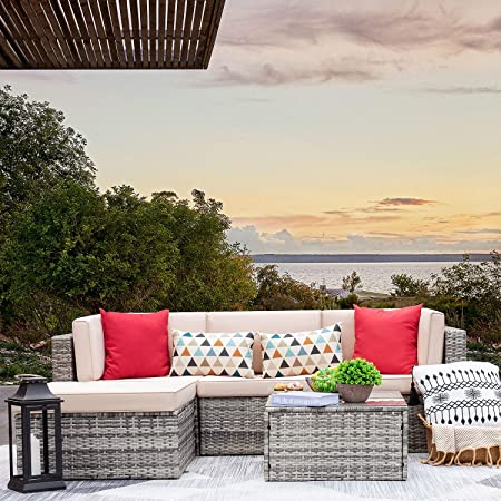 Amazon.com: VICTONE 5 Pieces Patio Furniture Sectional Set Outdoor