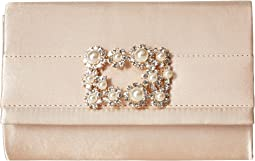 Jessica McClintock Alexis Satin Rhinestone Broach Clutch