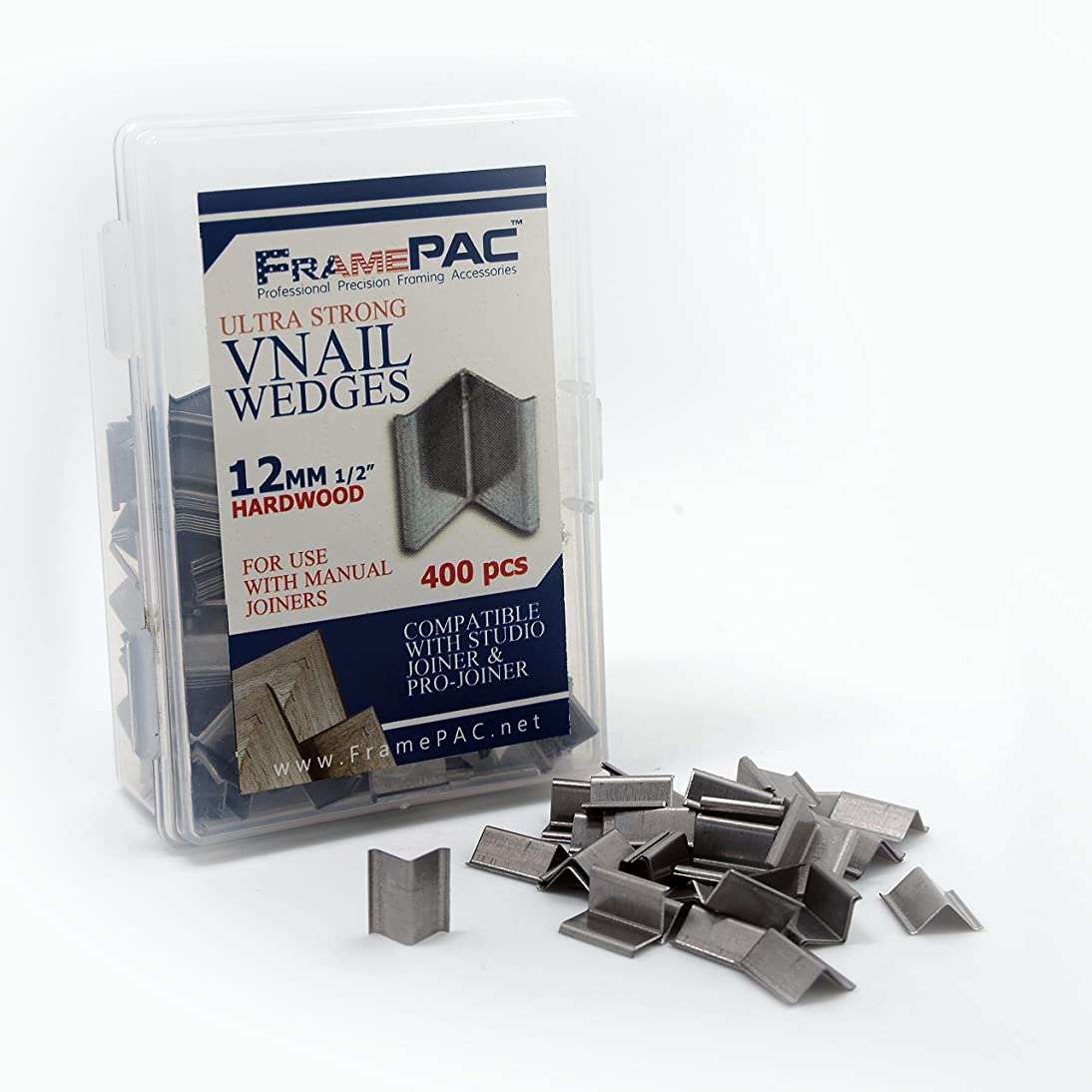 V Nails for Picture Framing - Ultra Strong - 12mm (1/2 Inch) Vnail Wedges for Joining Picture Frame Corners - Hardwood Frames [400 V Nail Pack, Loose]