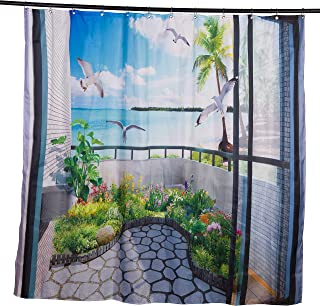 Babycare Pro 3D Bathroom Shower Curtain Beautiful Scene in the Balcony (200*180cm)