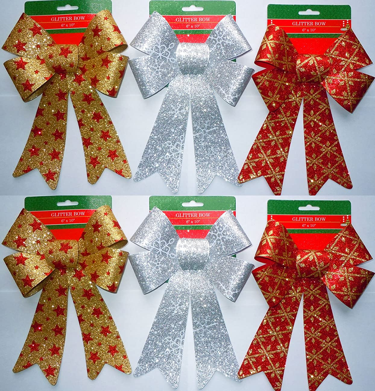 Glitter Christmas Bows 6x10 Inches - 6 Large Bows with 3 Different Styles Included