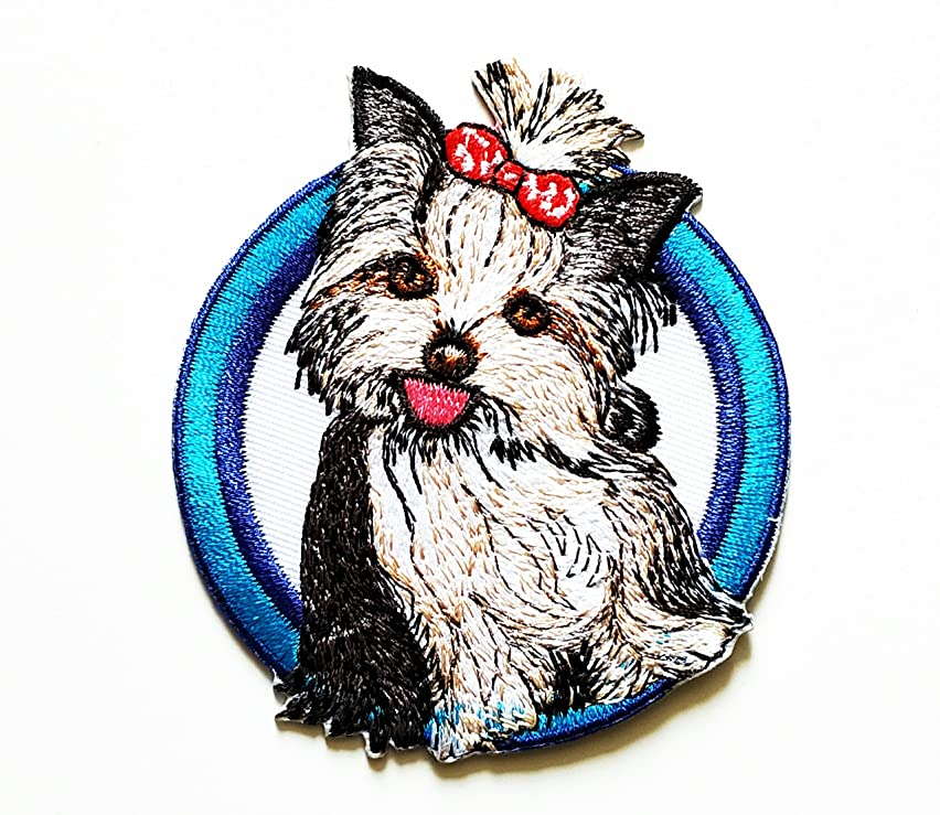 HHO Shih Tzu Long Haired Dog Puppy Breed Embroidered Patch Embroidered DIY Patches, Cute Applique Sew Iron on Kids Craft Patch for Bags Jackets Jeans Clothes