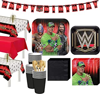 Party City WWE Champion Tableware Supplies for 24 Guests, Include Wrestling Plates, Napkins, Cups, Utensils, Decorations