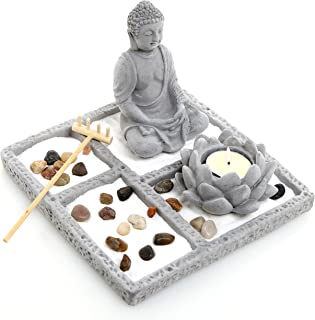 MyGift Deluxe Gray Cement Rustic Zen Buddha Statue Garden Set with Lotus Tealight Candleholder, Sand, Rock & Rake
