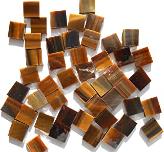 FortySevenGems 100 Pieces Stained Glass Mosaic Tiles 1/2-Inch Tan Brown Mix Glass Textured