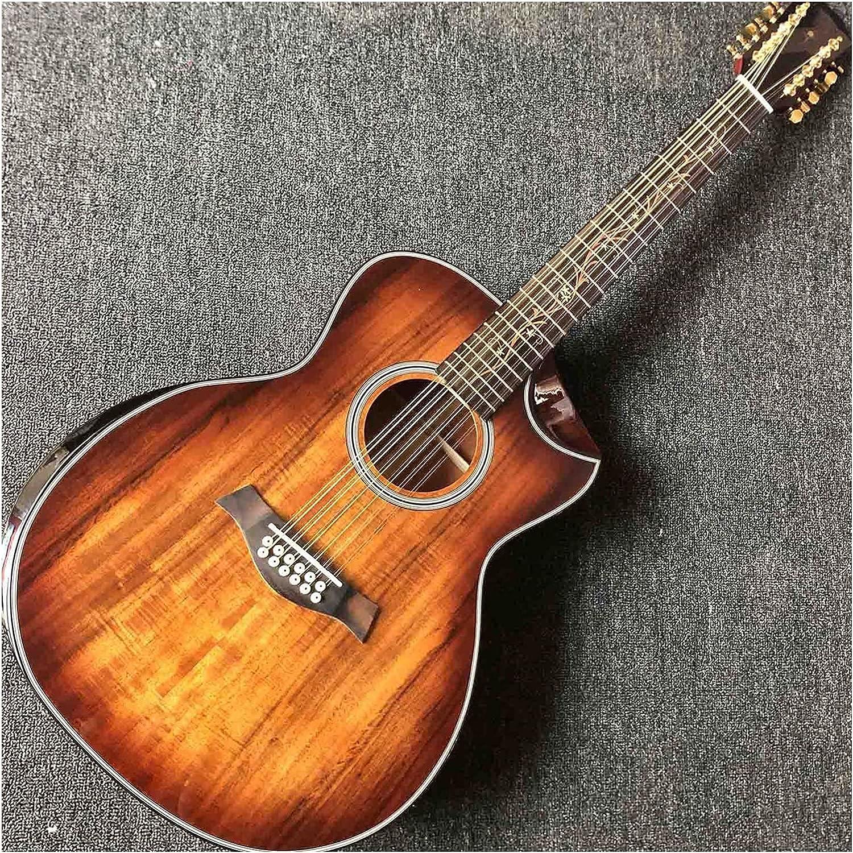 YYYSHOPP Guitarra Sólido Madera Top 12 Cuerdas Guitarra Eléctrica Acústica con Reposabrazos Cama Y Desayuno Banda Eq (Size : 40 Inches)