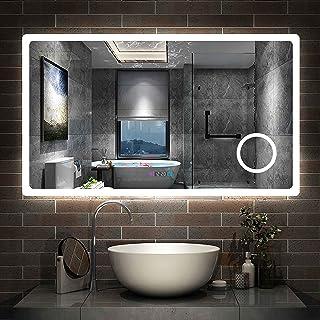 Aica Miroir de Salle de Bain 120cmx70cm avec LED Couleur et luminosité réglables + Anti-buée + Miroir grossissant + Horloge