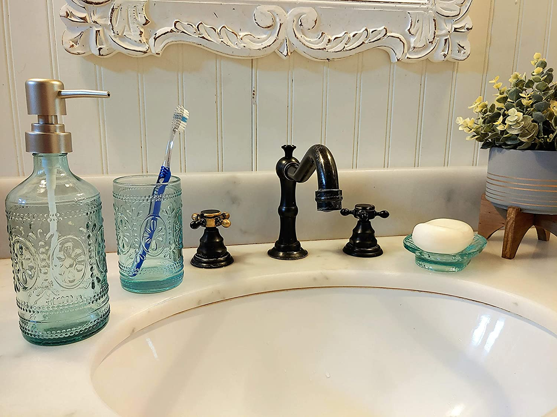 Glass Boho Bathroom Accessories Set   20 Piece Vintage Bath Set with Lotion  Soap Dispenser, Tumbler Cup, and Soap Dish Blue