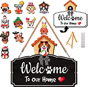 Veriss Dog House Interchangeable Seasonal Welcome Sign for Front Door, Home Wall Decor, Porch, and Outdoor Hanging - Holiday Wreath and Christmas Decoration with Hanger and 12 Cute Wooden Pieces for all Seasons