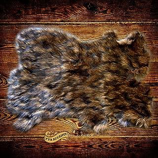 Lions Mane Shag Rug Luxury Fur Bear Sheepskin Pelt Rug Faux Flokati Pelt Suede Lined (3'x5')