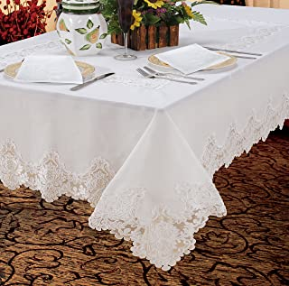 Violet Linen Imperial Embroidered Vintage Lace Design Tablecloth Set of 6, Napkins, White