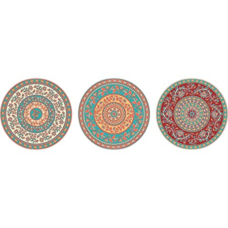REAL ART Bone China Wall Hanging Plates, Multicolour, Standard
