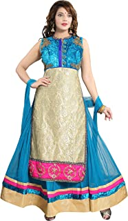 PC Chandan Creation Women's Hand Embroidered Net Abaya Style Suit in Sky Blue and Beige