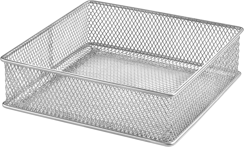 Ybm Home Silver Mesh Drawer Cabinet and or Shelf Organizer Bins, School Supply Holder Office Desktop Organizer Basket 1595 (6x6)
