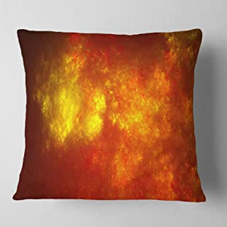 Designart Orange Starry Fractal Sky' Abstract Throw Living Room, Sofa, Pillow Insert + Cushion Cover Printed On Both Side ...