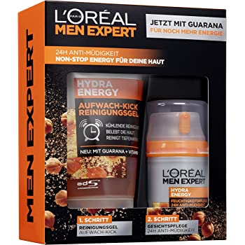 LOréal Men Expert Hydra Energy - Set de regalo para hombres 24h hidratante con guarana (50 ml) y gel de lavado (100 ml) para el cuidado facial diario: Amazon.es: Belleza