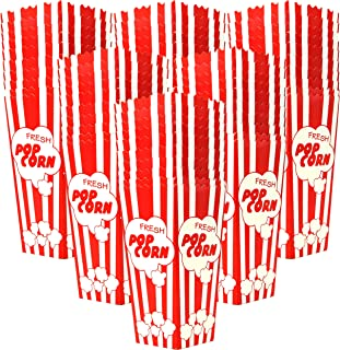 60 Popcorn Boxes 7.75 Inches Tall & Holds 46 Oz. Old Fashion Vintage Retro Design Red & White Colored Nostalgic Carnival Stripes like Popcorn Bags & Popcorn Tubs [other quantities available] Salbree
