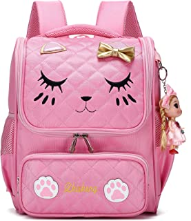Waterproof Princess School Backpacks for Girls Cute Kids Book Bag Travel Daypack (Small, Pink)