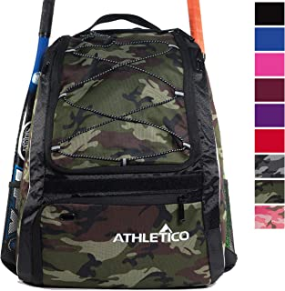 Athletico Baseball Bat Bag - Backpack for Baseball, T-Ball & Softball Equipment & Gear for Youth and Adults   Holds Bat, Helmet, Glove, Shoes  Shoe Compartment & Fence Hook