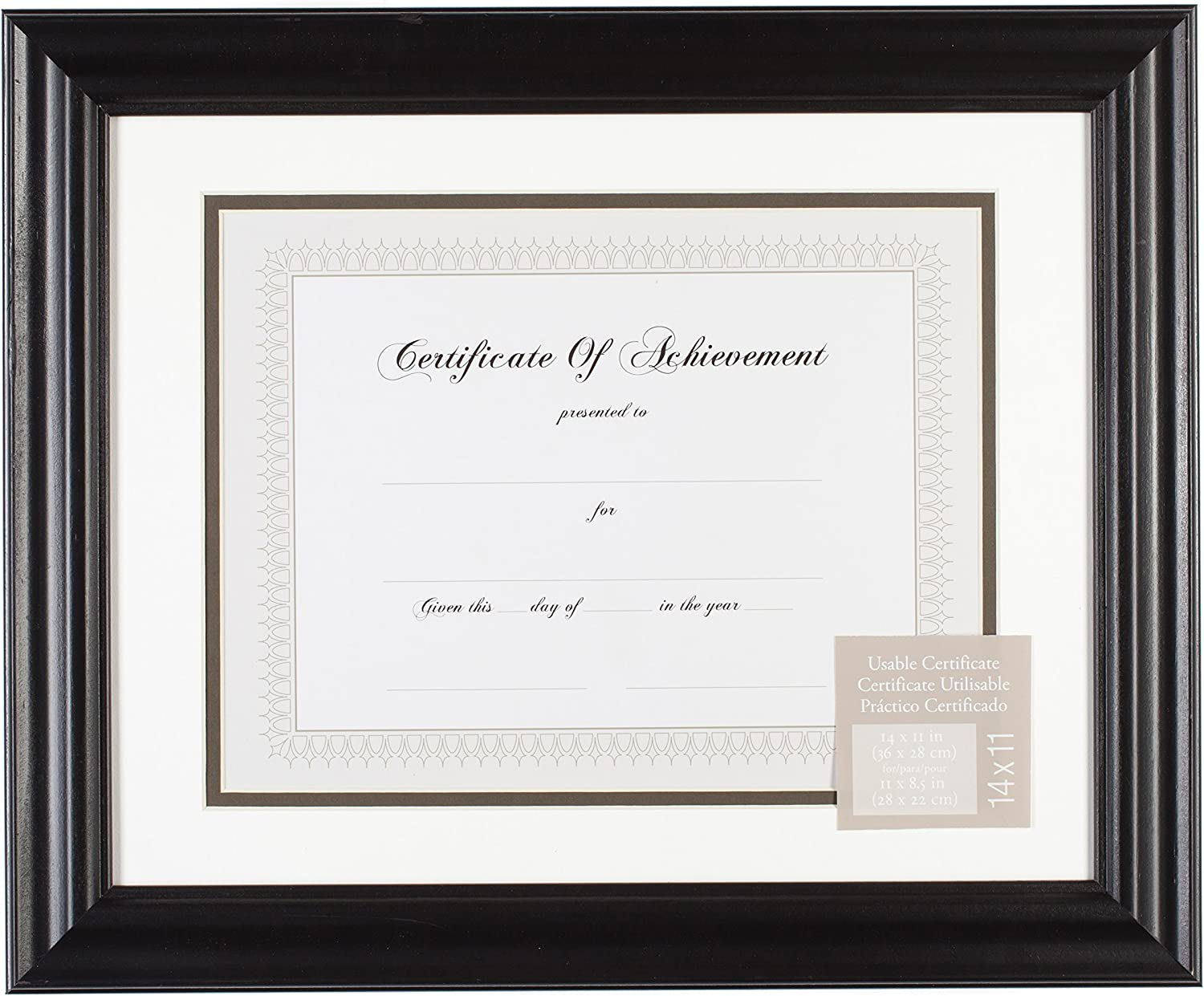 Gallery Solutions 11x14 Genuine Black Satin Document Frame Ov Direct store White with