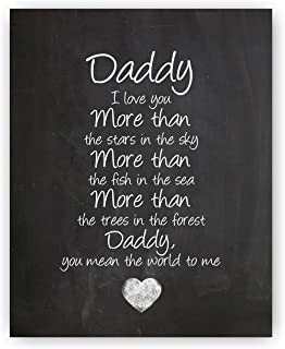 Ocean Drop Designs Daddy Gift, Daddy Quote Sign, Daddy Quotes, Best Daddy Gift Chalkboard Print - Unique Gift for Dad & The Beautiful Typography Artwork - 8x10