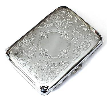 Caja de cigarrillos de doble cara metálica de color plateado, diseño grabado con grabado, más corto que 100