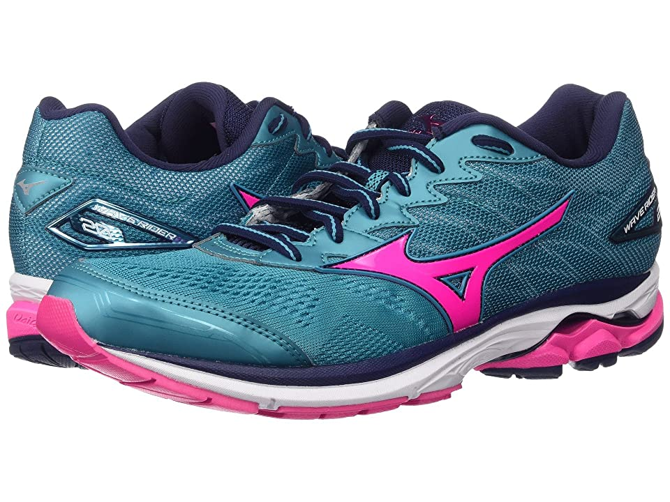 Mizuno Wave Rider 20 (Tile Blue/Pink Glow/Peacoat) Women