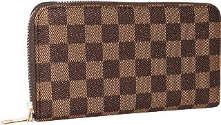 Women's Checkered Zip Around Wallet Purses RFID Card Holder Leather
