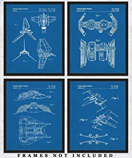 Original Star Wars Vehicles Blueprint Art Prints – Set of 4 Unframed 8 x 10 Poster Photos. Unique Wall Art for Home, Room & Office Decor. Great Gifts for Men, Women Boys, Girls & Movies Fans
