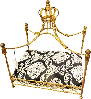 MY SWANKY HOME Jeweled Crown Gold Iron Dog Bed   Pet Canopy Metal Royal