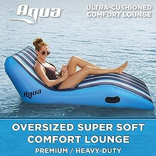 Aqua Ultra Comfort Pool Lounger, Lake Raft, One 1-Person Lake-Ocean-Pool Float, Heavy Duty, X-Large, Navy/White Stripe