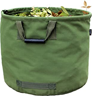 Amatory Garden Lawn Leaf Yard Waste Bag Clean Up Tarp Container Tote Gardening Trash Reusable Heavy Duty Military Canvas Fabric (Bag)