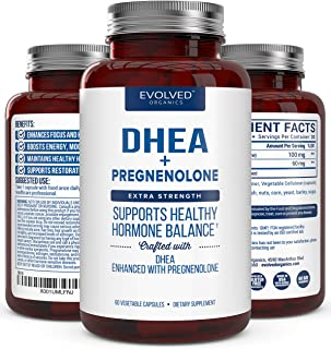 Extra Strength DHEA 100mg Supplement with Pregnenolone 60mg -Supports Hormone Balance, Lean Muscle Mass