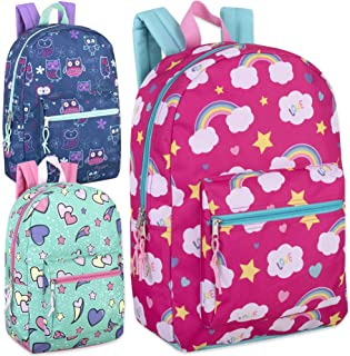 17 Inch Printed Backpacks For Boys & Girls Wholesale Bulk Case Pack Of 24 (Girls 3 Color Assortment)