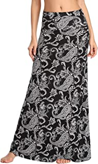 Women's Stylish Spandex Comfy Fold-Over Flare Long Maxi Skirt
