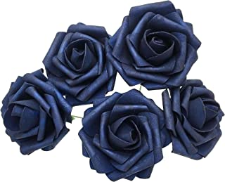 50 pcs Artificial Flowers Foam Roses Various Colors For Bridal Bouquet Bouquets Wedding Centerpieces Kissing Balls (Navy Blue)